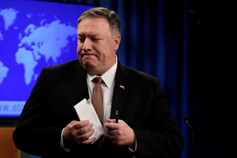 U.S. Secretary of State Mike Pompeo leaves after a briefing on Iran at the State Department in Washington, U.S., April 8, 2019. REUTERS/Yuri Gripas