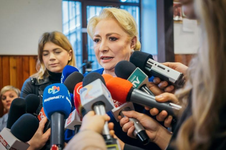 Former prime minister and presidential candidate Viorica Dancila said she had voted told supporters she voted 'for a safe and dignified Romania' (AFP Photo/Andrei PUNGOVSCHI)