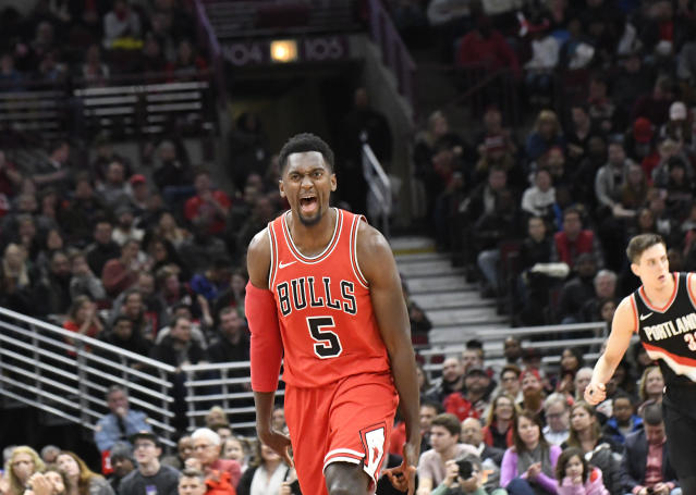 "Chicago Bulls forward <a class=""link rapid-noclick-resp"" href=""/nba/players/5482/"" data-ylk=""slk:Bobby Portis"">Bobby Portis</a> should see a boost in his fantasy value with  <strong><a class=""link rapid-noclick-resp"" href=""/nba/players/4905/"" data-ylk=""slk:Nikola Mirotic"">Nikola Mirotic</a></strong> headed to New Orleans. (AP Photo/David Banks)"