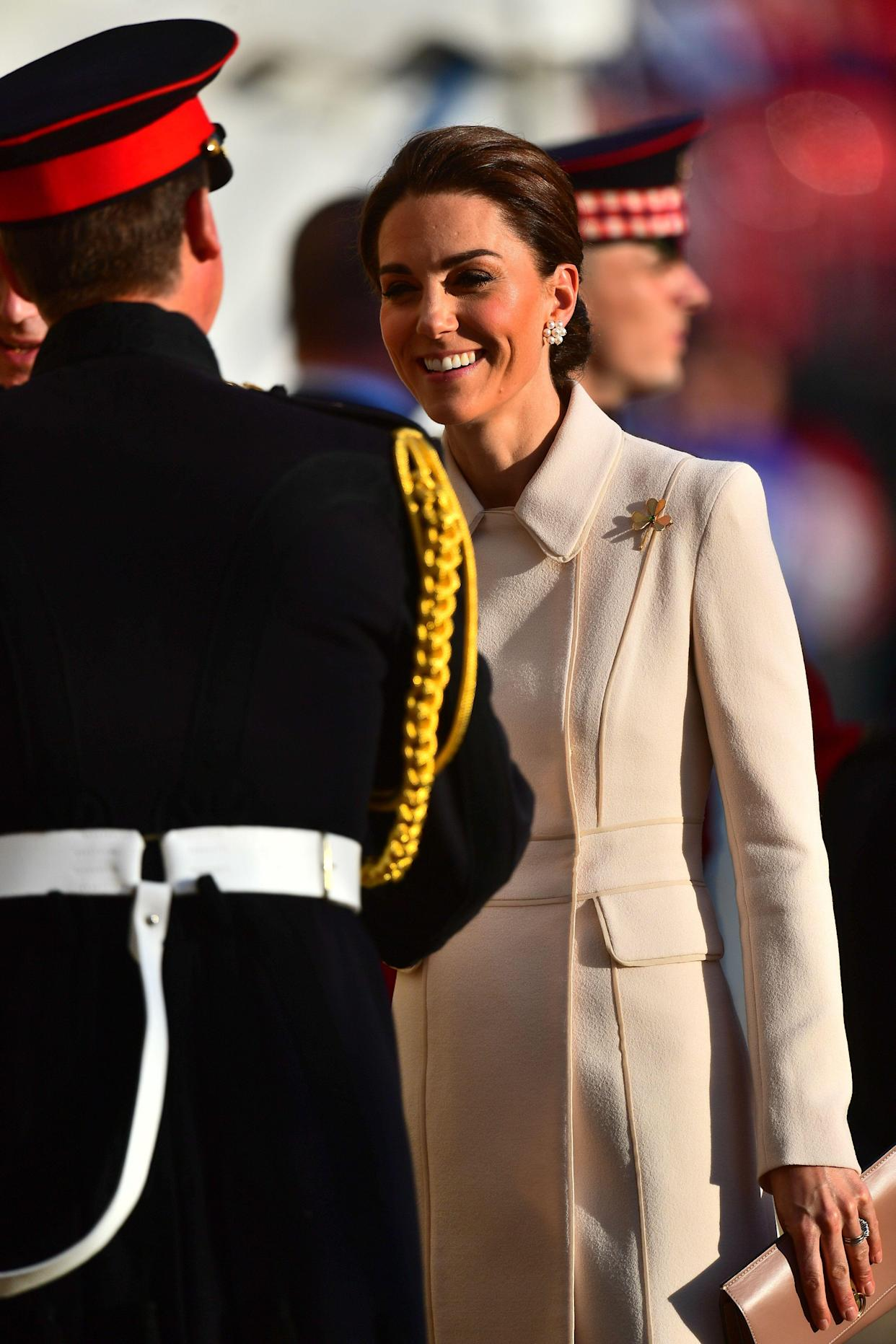 The Duchess of Cambridge arrives to watch members of the Massed Bands of the Household Division during the annual Beating Retreat ceremony, which features over 750 soldiers, on Horse Guards Parade, London.