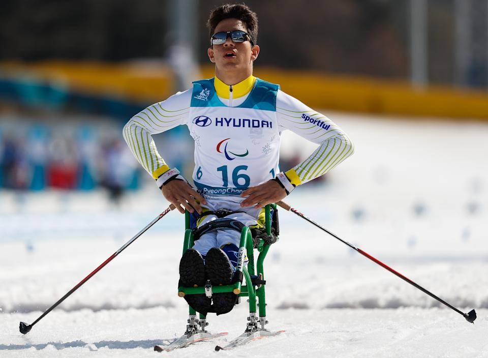 PYEONGCHANG-GUN, SOUTH KOREA - MARCH 14: Cristian Ribera of Brazil competes in the Men's Cross Country 1.1km Sprint, Sitting event at Alpensia Biathlon Centre during day five of the PyeongChang 2018 Paralympic Games on March 14, 2018 in Pyeongchang-gun, South Korea. (Photo by Buda Mendes/Getty Images)