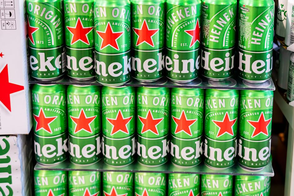 Cans of Heineken beer in a supermarket. Photo: Alex Tai/SOPA Images/LightRocket via Getty