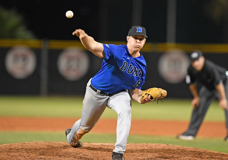 CORAL GABLES, FL - APRIL 8: Duke infielder/right handed pitcher Jack Labosky (6) pitches during a college baseball game between the Duke University Blue Devils and the University of Miami Hurricanes on April 8, 2017 at Alex Rodriguez Park at Mark Light Field, Coral Gables, Florida. Miami defeated Duke 9-7. (Photo by Richard C. Lewis/Icon Sportswire via Getty Images)