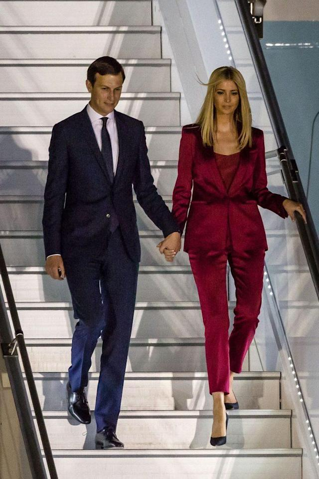 Ivanka Trump wears a bold red pantsuit in Poland.(Photo: WOJTEK RADWANSKI/AFP/Getty Images)