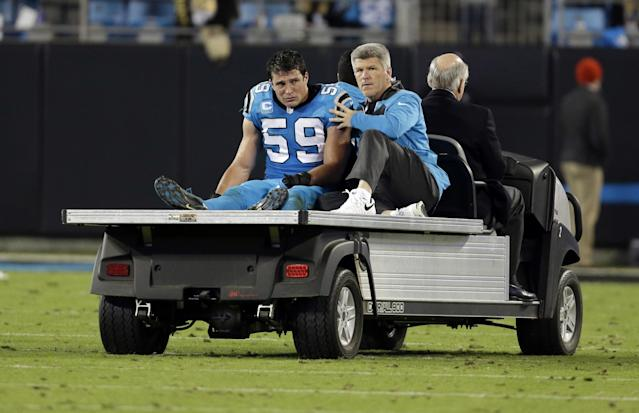 "Panthers star LB <a class=""link rapid-noclick-resp"" href=""/nfl/players/25719/"" data-ylk=""slk:Luke Kuechly"">Luke Kuechly</a> missed the final six games of the 2016 season due to a concussion. (AP)"