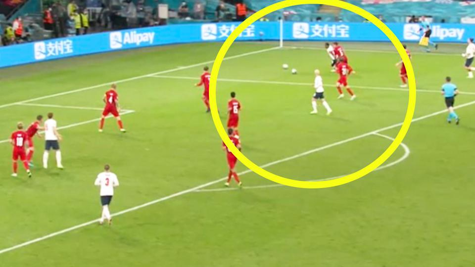 Raheem Sterling (pictured) dribbling the ball despite another one being on the field in the lead up to England's penalty.