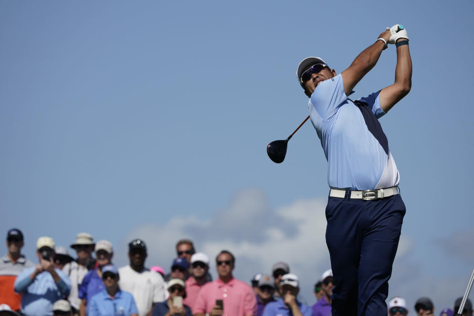 Hideki Matsuyama, of Japan, watches his tee shot on the 15th tee during the first round of the PGA Championship golf tournament on the Ocean Course Thursday, May 20, 2021, in Kiawah Island, S.C. (AP Photo/Matt York)