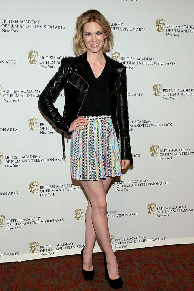 "January Jones attends BAFTA New York Celebrates ""Mad Men"" at The Harvard Club on April 22, 2013 in New York City."