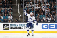 Tampa Bay Lightning center Steven Stamkos celebrates his goal during the second period of the team's NHL hockey game against the San Jose Sharks in San Jose, Calif., Saturday, Feb. 1, 2020. (AP Photo/Josie Lepe)