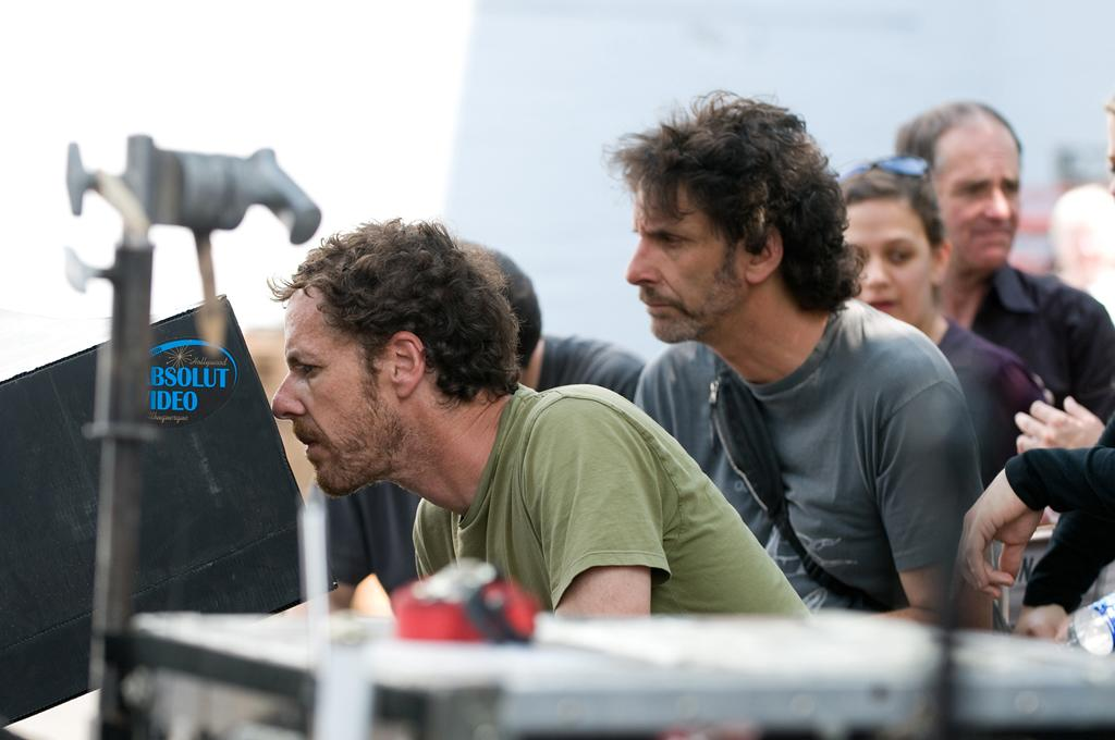 "Directors <a href=""http://movies.yahoo.com/movie/contributor/1800025225"">Ethan Coen</a> and <a href=""http://movies.yahoo.com/movie/contributor/1800025224"">Joel Coen</a> on the set of Paramount Pictures' <a href=""http://movies.yahoo.com/movie/1810153253/info"">True Grit</a> - 2010"
