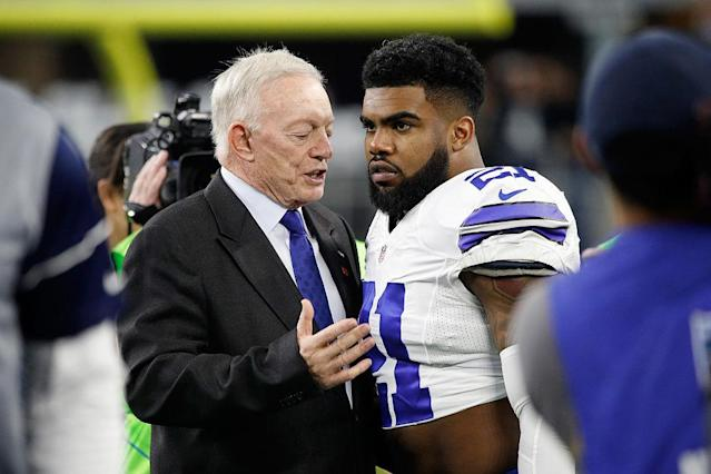 If Jerry Jones wants to be furious over Ezekiel Elliott's six-game suspension, he should direct his anger not at the NFL but at his running back. (Getty Images)
