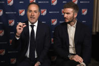 Inter Miami CF co-owners Jorge Mas, left, and David Beckham, are interviewed during the Major League Soccer 25th Season kickoff event, in New York, Wednesday, Feb. 26, 2020. (AP Photo/Richard Drew)
