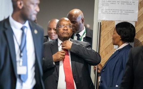Mr Zuma was forced to resign by his ruling African National Congress party over widespread reports of corruption - Credit: Pool Photo via AP