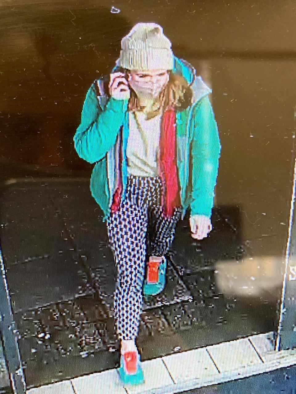 An image from CCTV footage of Sarah Everard captured earlier on the night she went missing.