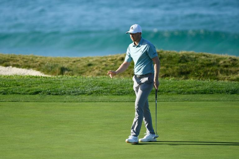 American Daniel Berger on the way to a six-under par 66 at Pebble Beach Golf Links that left him one shot behind Jordan Spieth in the Pebble Beach Pro-Am