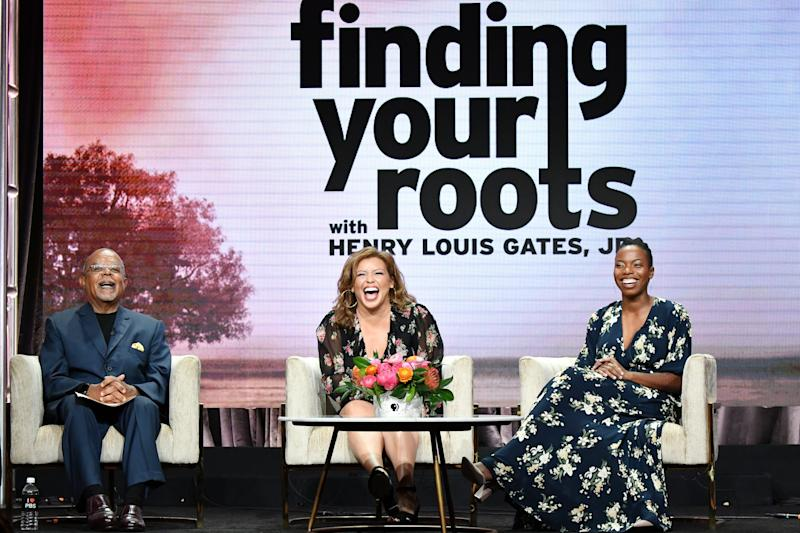 'Finding Your Roots' host Henry Louis Gates Jr., left, was joined by Season 6 participants Justina Machado and Sasheer Zamata, for a Television Critics Association panel Monday.