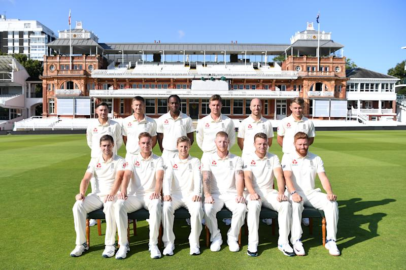 LONDON, ENGLAND - AUGUST 13: The England team (Back row: Rory Burns, Joe Denly, Jofra Archer, Jason Roy, Jack Leach and Sam Curran. Top row: Chris Woakes, Stuart Broad, Joe Root, Ben Stokes, Jos Buttler and Jonathan Bairstow) at Lord's Cricket Ground on August 13, 2019 in London, England. (Photo by Gareth Copley/Getty Images)