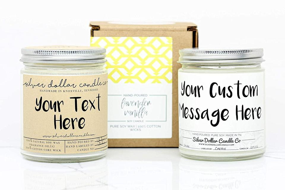 """<h3><a href=""""https://amzn.to/3eoRvKd"""" rel=""""nofollow noopener"""" target=""""_blank"""" data-ylk=""""slk:Silver Dollar Candle Co. Handmade Soy Wax Candle"""" class=""""link rapid-noclick-resp"""">Silver Dollar Candle Co. Handmade Soy Wax Candle</a></h3><br>Handmade, hand-poured, hand-labeled, and made for candle lovers (in Knoxville, Tennessee).<br><br><strong>Silver Dollar Candle Co.</strong> Personalized 8oz Handmade Candle, $, available at <a href=""""https://amzn.to/2KcLmDb"""" rel=""""nofollow noopener"""" target=""""_blank"""" data-ylk=""""slk:Amazon"""" class=""""link rapid-noclick-resp"""">Amazon</a>"""