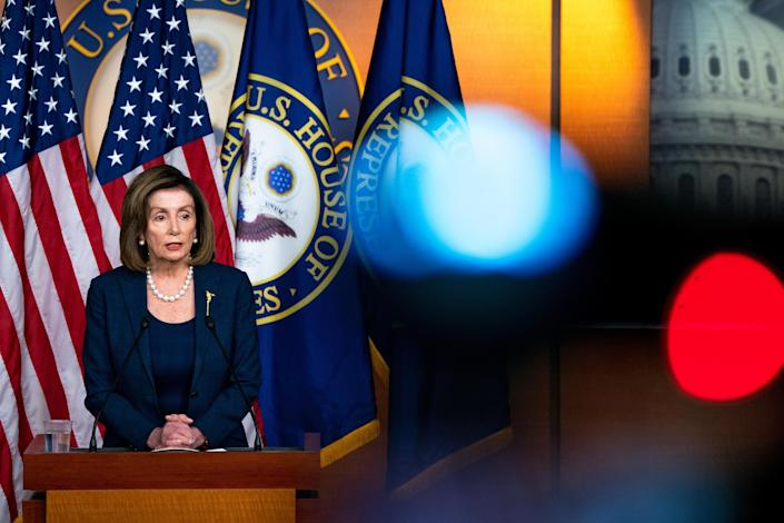 House Speaker Nancy Pelosi (D-Calif.) speaks during a weekly news conference on Capitol Hill in Washington, Jan. 16, 2020. (Anna Moneymaker/The New York Times)