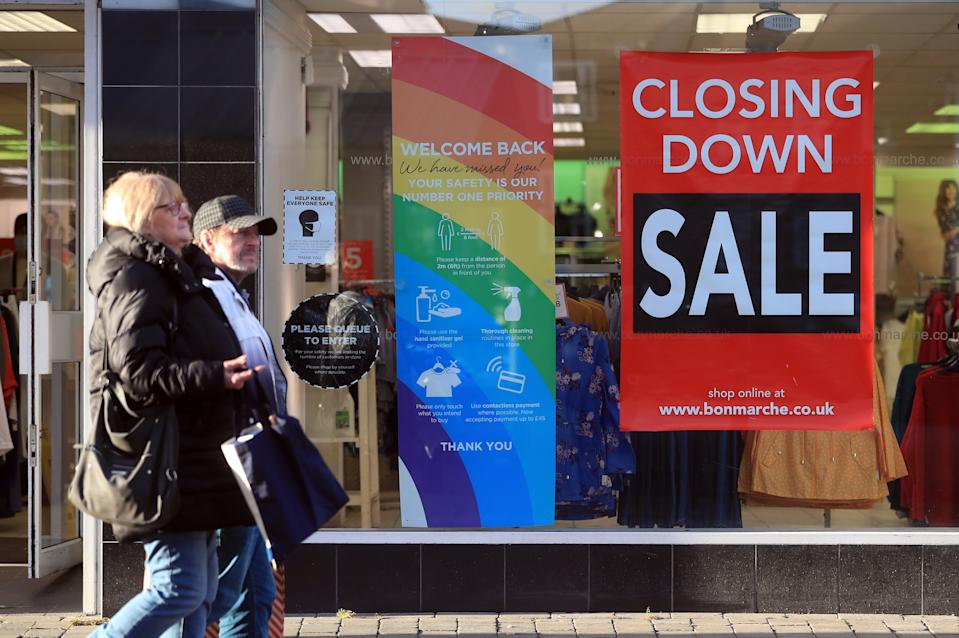 Bonmarche in Doncaster City Centre, advertising its closing down sale, on the day non-essential shops in England open their doors to customers for the first time after the second national lockdown ends and England has a strengthened tiered system of regional coronavirus restrictions.