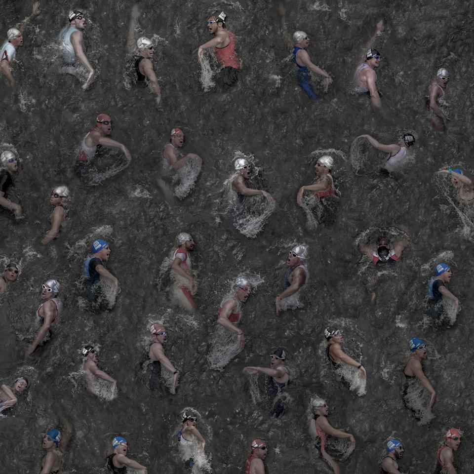 """<p>The picture was taken in summer 2017 from 35 individual images of swimmers at the triathlon in the Duesseldorf Media Harbor. I was able to take a picture of them from above, while the athletes crossed a pedestrian bridge capturing their very individual """"breathing techniques"""". I was inspired by the work of Andreas Gursky, therefore I took the individual images with the highest possible sharpness. That enables me to display or print the overall picture in large format. (Klaus Lenzen, Germany, Winner, Open, Enhanced (Open competition), 2018 Sony World Photography Awards) </p>"""