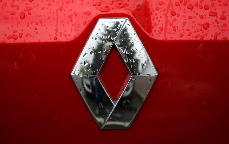 The logo of French car manufacturer Renault is seen on a car at a dealership of the company in Vendenheim near Strasbourg