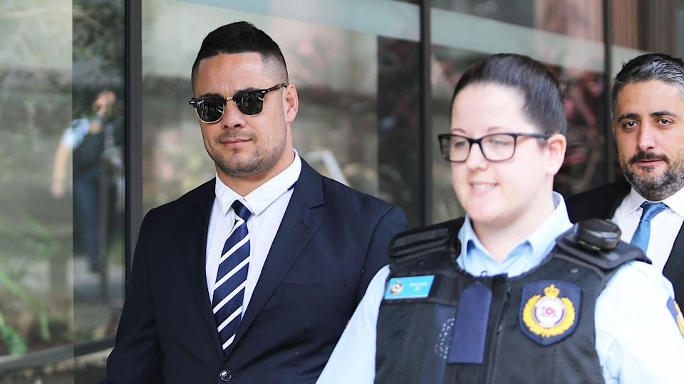 Pictured here, Jarryd Hayne leaves court after his rape trial.