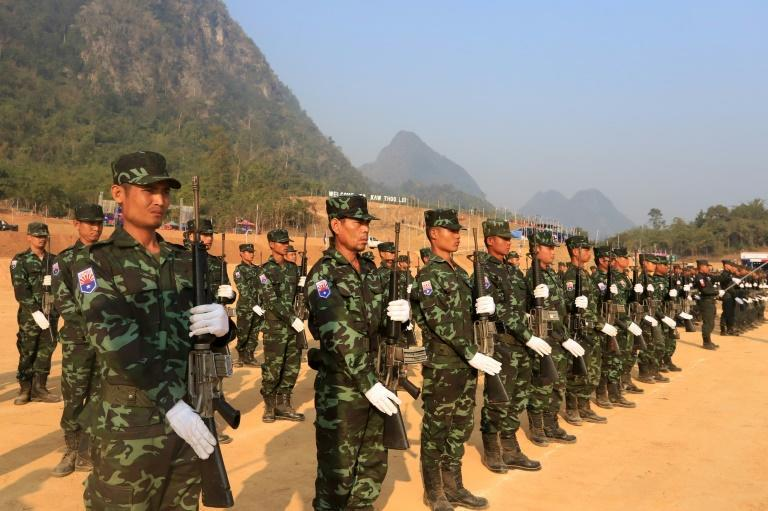 Fighters from the Karen National Union (pictured) have clashed with the military in their territory along Myanmar's eastern border for weeks