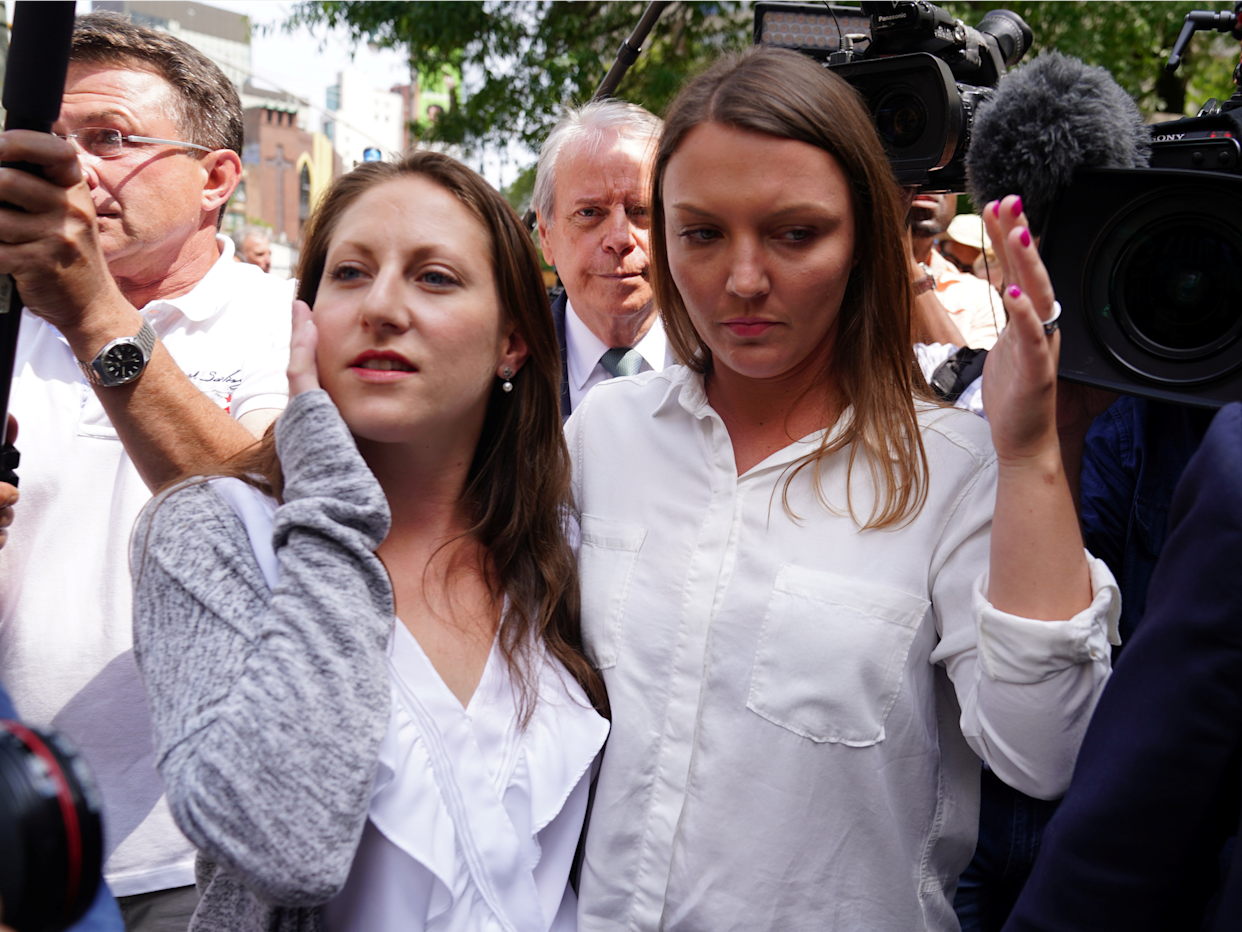 Michelle Licata and Courtney Wild, who say they are victims, leave following the arraignment of U.S. financier Jeffrey Epstein after the Southern District of New York announced charges of sex trafficking of minors and conspiracy to commit sex trafficking of minors, in New York, U.S., July 8, 2019.