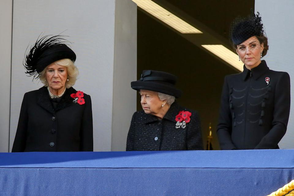 The Duchess of Cambridge was positioned next to the Queen [Photo: Getty]