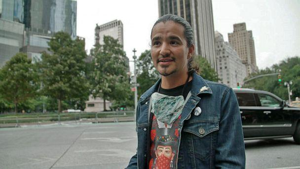 PHOTO: Ty Defoe, a member of the Ojibwe and Oneida Nations, says the statue of Christopher Columbus in New York City represents 'murder' and 'rape,' and that it 'needs to come down.' (ABC News)
