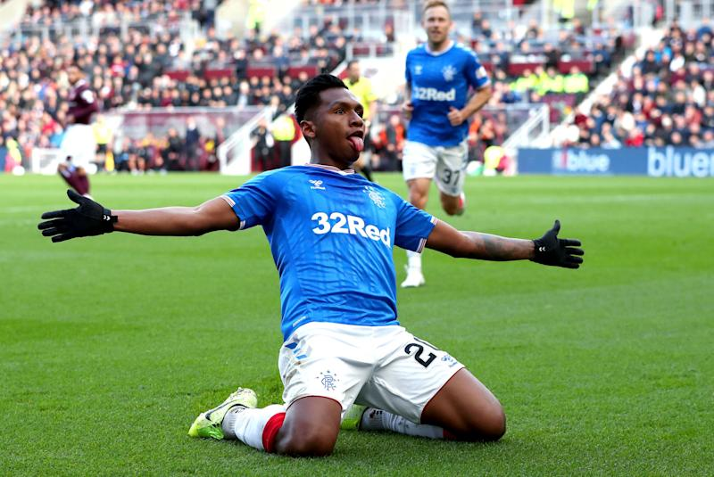 Rangers Alfredo Morelos celebrates scoring his side's first goal of the game against Heart of Midlothian, during their Scottish Premiership soccer match at Tynecastle Park in Edinburgh, Scotland, Sunday Oct. 20, 2019. (Jane Barlow/PA via AP)