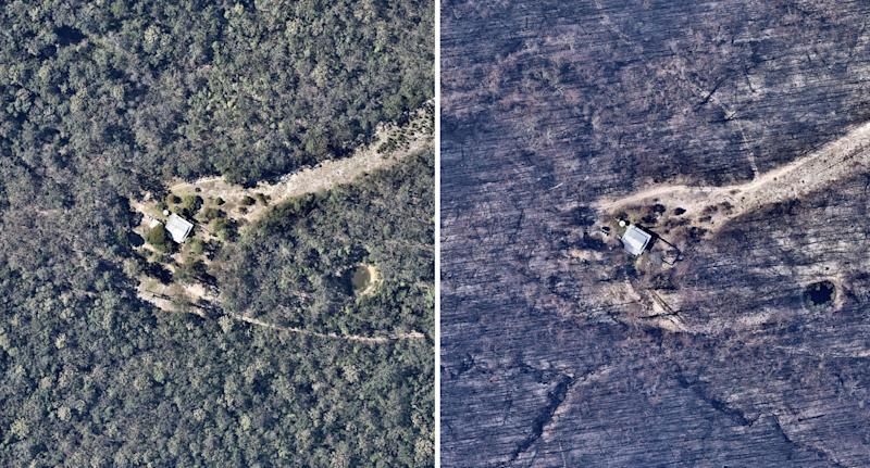 Bushfire destroyed home on NSW north coast in aerial before and after photos.