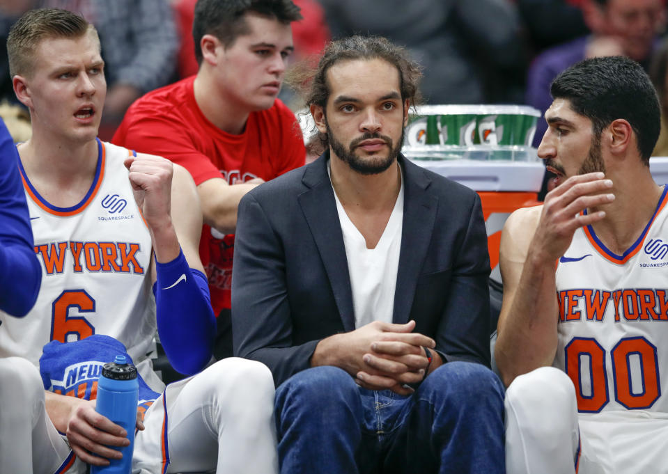 New York Knicks center Joakim Noah is playing for a coach who will physically restrain him from getting on the court. (AP Photo)