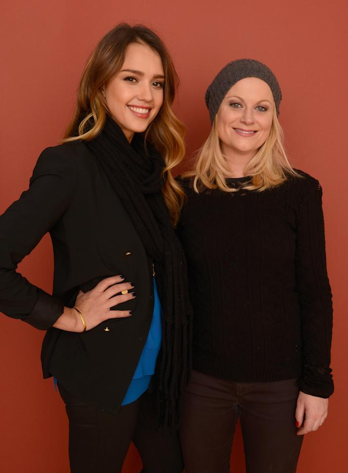 PARK CITY, UT - JANUARY 23:  Actresses Jessica Alba and Amy Poehler pose for a portrait during the 2013 Sundance Film Festival at the Getty Images Portrait Studio at Village at the Lift on January 23, 2013 in Park City, Utah.  (Photo by Larry Busacca/Getty Images)