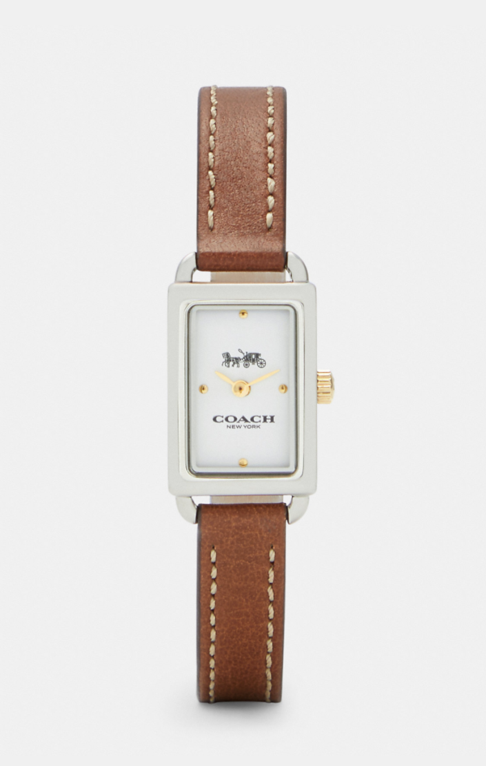 brown leather and stainless steel Liz Watch (Photo via Coach Outlet)