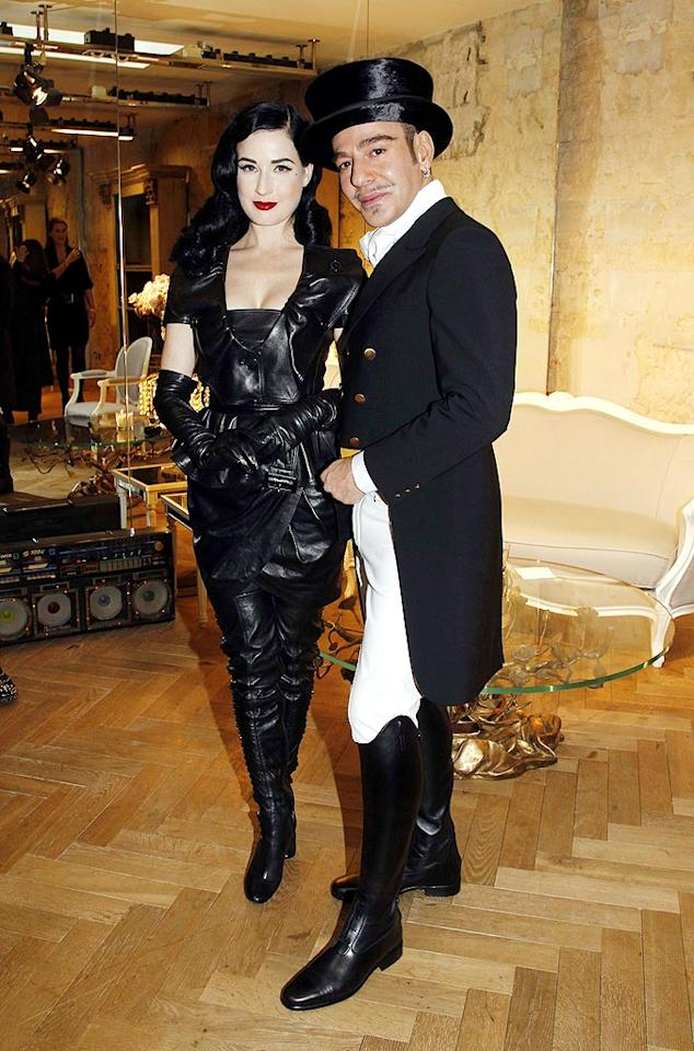 """Dita Von Teese went for an all-leather dominatrix theme with her Spring 2010 Dior outfit. The burlesque performer was attending the Christian Dior haute-couture show in Paris with dapper designer, John Galliano. Eric Ryan/<a href=""""http://www.gettyimages.com/"""" target=""""new"""">GettyImages.com</a> - January 25, 2010"""