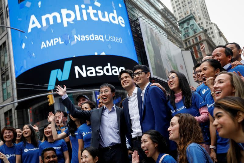 Spenser Skates, Amplitude CEO, outside the Nasdaq Market in Times Square during the company's direct listing in New York