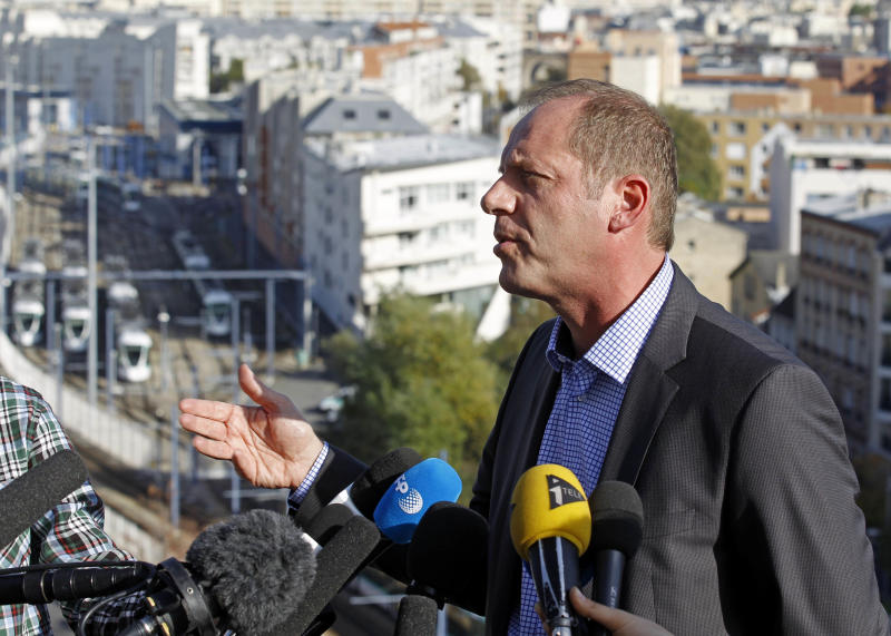 Tour de France director Christian Prudhomme addresses reporters at the headquarters of ASO, the owners of the race, in Issy Les Moulineaux , west of Paris, Monday Oct. 22, 2012. Prudhomme said Monday he no longer considers Lance Armstrong a seven-time winner of the world's most prestigious cycling race. (AP Photo/Remy de la Mauviniere)