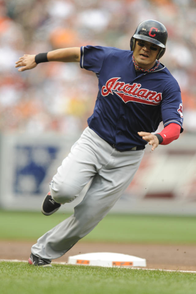 BALTIMORE, MD - JUNE 30:  Shin-Sin Choo #17 of the Cleveland Indians runs past third base to home to scores teams first run during the first inning of a baseball game against the Baltimore Orioles at Oriole Park at Camden Yards on June 30, 2012 in Baltimore, Maryland.  (Photo by Mitchell Layton/Getty Images)