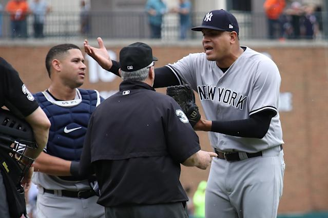 Dellin Betances reacts to being ejected from the game after hitting James McCann in the head with a pitch in the seventh inning at Comerica Park. (Getty Images)