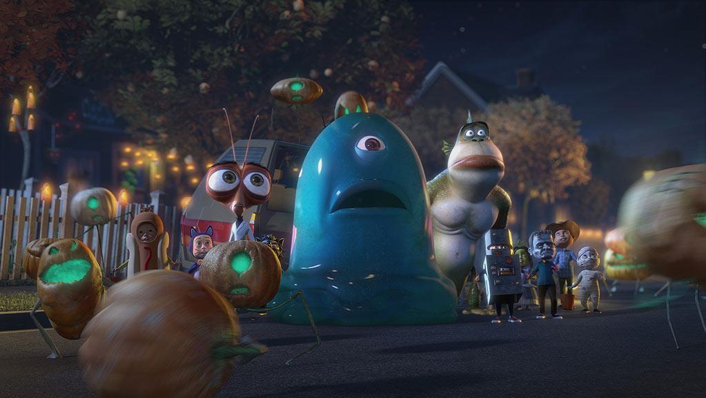 "Dr. Cockroach Ph.D. (voiced by Hugh Laurie), B.O.B. (voiced by Seth Rogen), The Missing Link (voiced by Will Arnett) in ""Monsters Vs. Aliens: Mutant Pumpkins From Outer Space."""