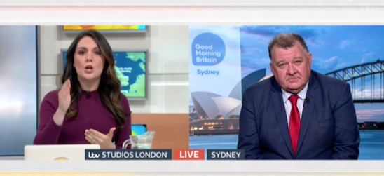 Laura Tobin and Craig Kelly clashed over climate change on Good Morning Britain yesterday. (ITV)