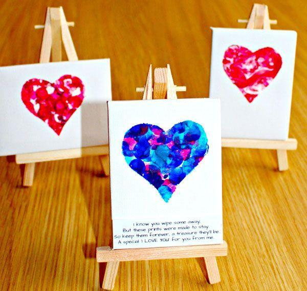 "<p>This craft is perfect for a first Mother's Day, since even the tiniest ones can do it (with a little help) and make art to save forever. The <a href=""https://www.amazon.com/US-Art-Supply-Artists-Painting/dp/B07HZ2Z85C?tag=syn-yahoo-20&ascsubtag=%5Bartid%7C10055.g.32126629%5Bsrc%7Cyahoo-us"" rel=""nofollow noopener"" target=""_blank"" data-ylk=""slk:mini-canvas"" class=""link rapid-noclick-resp"">mini-canvas</a> (with easel!) makes it look like your baby's a pro already.</p><p><em><a href=""https://www.messylittlemonster.com/2016/02/fingerprint-heart-keepsake-valentine-day-poem.html"" rel=""nofollow noopener"" target=""_blank"" data-ylk=""slk:Get the tutorial at Messy Little Monster »"" class=""link rapid-noclick-resp"">Get the tutorial at Messy Little Monster »</a></em></p><p><strong>RELATED:</strong> <a href=""https://www.goodhousekeeping.com/holidays/mothers-day/g2412/mothers-day-homemade-gifts-crafts/"" rel=""nofollow noopener"" target=""_blank"" data-ylk=""slk:DIY Mother's Day Gifts That Are the Most Thoughtful Way to Say &quot;I Love You"" class=""link rapid-noclick-resp"">DIY Mother's Day Gifts That Are the Most Thoughtful Way to Say ""I Love You</a></p>"