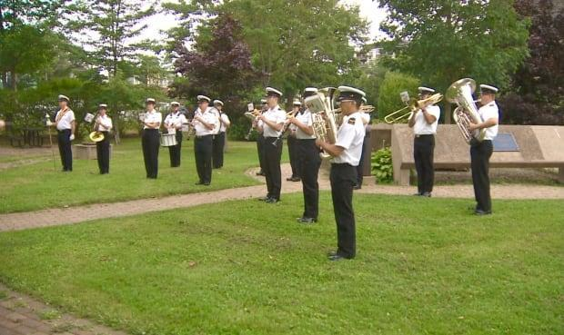 The Stadacona Band played a composition by Nevawn Patrick publicly for the first time on July 30 at the Pan-African flag raising ceremony in recognition of Emancipation Day. (Paul Palmeter/CBC - image credit)