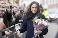 "<p>Meghan shared with <em><a href=""https://www.allure.com/story/meghan-markle-suits-beauty-tips"" rel=""nofollow noopener"" target=""_blank"" data-ylk=""slk:Allure"" class=""link rapid-noclick-resp"">Allure</a></em> in 2017 about her makeup routine. ""I don't wear foundation in real life. My routine is very simple—I call it the five-minute face. It's just Touche Éclat, curled lashes, mascara, Chap Stick, and a little bit of blush. That is my favorite kind of look. If I'm going to amp it up for night, then I use M.A.C. Teddy eyeliner, which is a really beautiful brown that has some gold in it.""<br></p>"