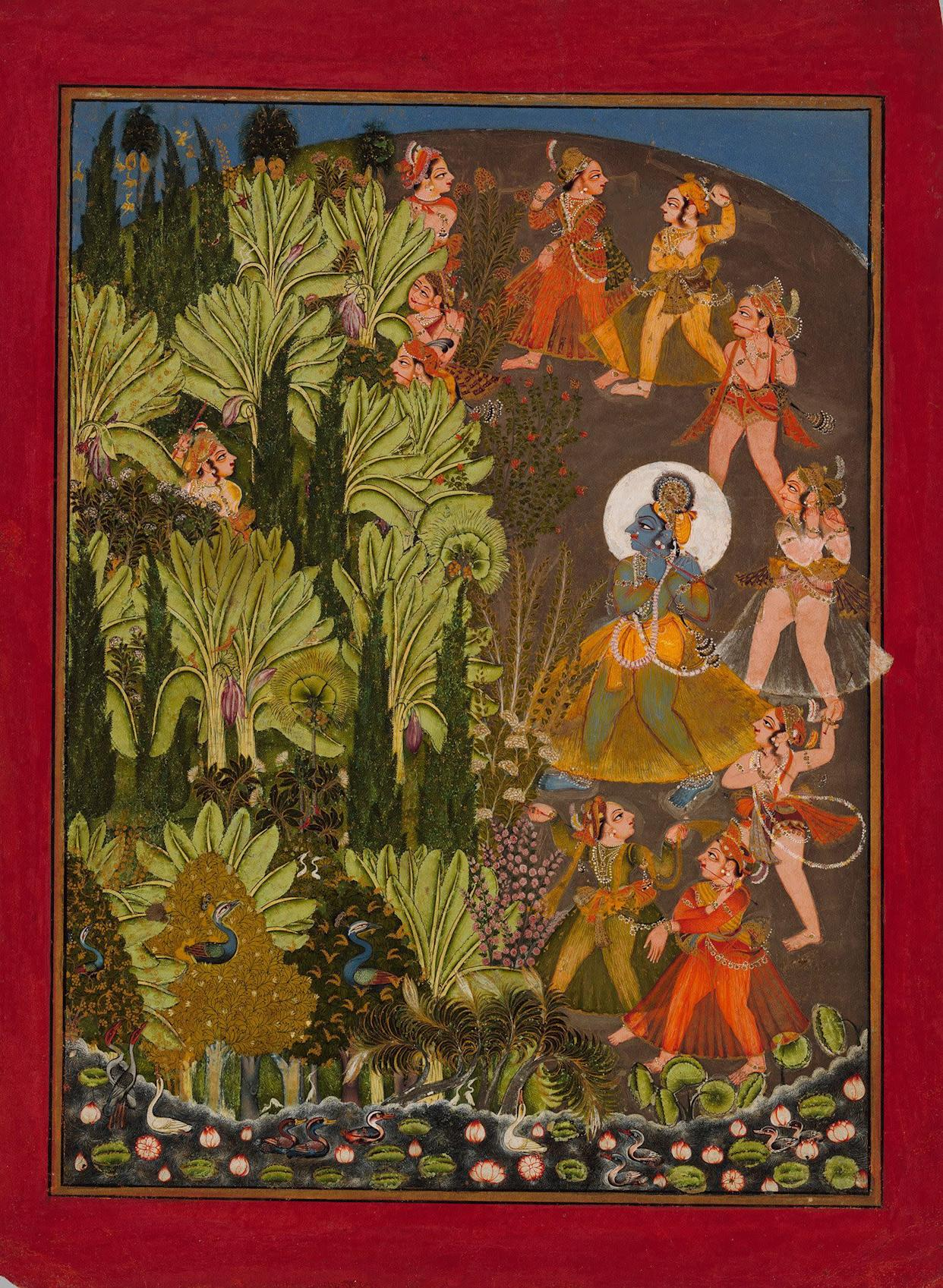 &quot;A&amp;nbsp;Krishna and the Gopas (Cow Herders) Enter the&amp;nbsp;Forest,&quot;<strong>&amp;nbsp;</strong>Possibly by Kota Master.&amp;nbsp;Rajasthan, kingdom of Kota, ca. 1720,&amp;nbsp;Opaque watercolor and gold on paper; red border with&amp;nbsp;black-lined gold inner rule; painting 10 1/2 x 7 3/4 in.&amp;nbsp;Promised Gift of the Kronos Collections, 2015.
