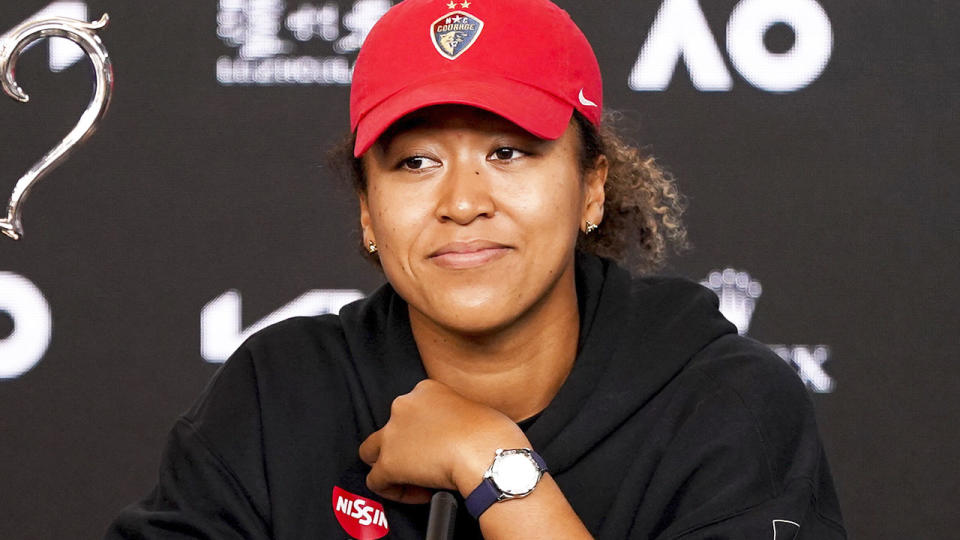 Naomi Osaka, pictured here speaking to the media after winning the 2021 Australian Open.