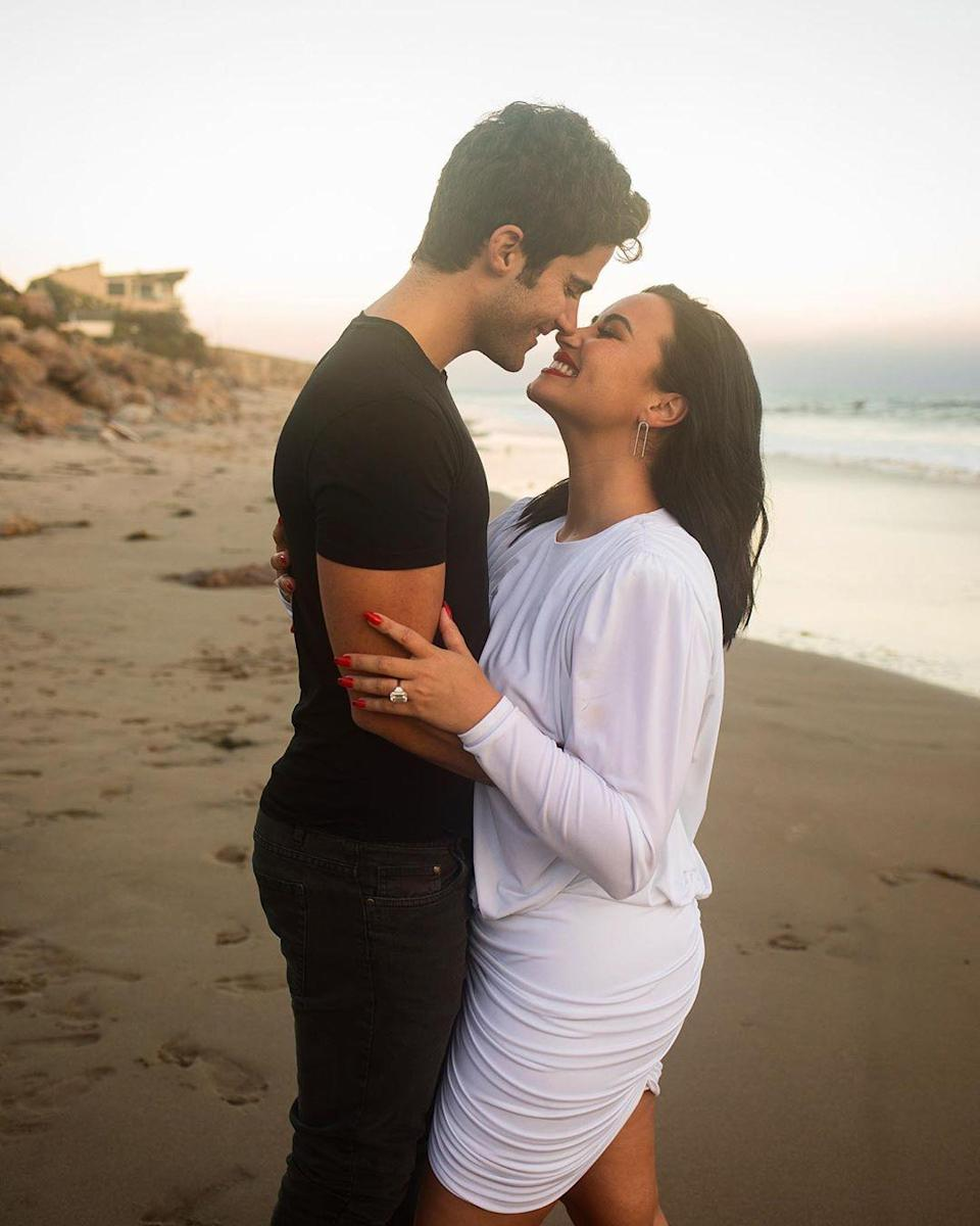 "<p>Ehrich <a href=""https://people.com/music/demi-lovato-boyfriend-max-ehrich-are-engaged/"" rel=""nofollow noopener"" target=""_blank"" data-ylk=""slk:popped the question"" class=""link rapid-noclick-resp"">popped the question</a> to Lovato in late July on a romantic beachside proposal in Malibu — just four months after they started dating.</p> <p>""I knew I loved you the moment I met you,"" Lovato captioned photos of the big day on Instagram. ""It was something I can't describe to anyone who hasn't experienced it firsthand but luckily you did too.""</p> <p>""I've never felt so unconditionally loved by someone in my life (other than my parents) flaws and all,"" she added.</p>"