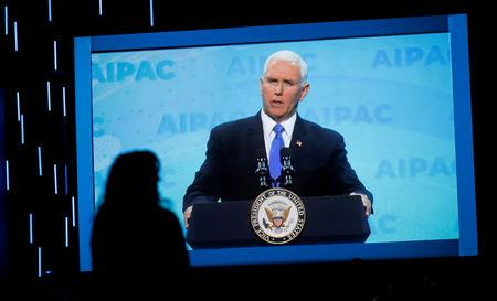 FILE PHOTO - Mike Pence speaks at AIPAC in Washington